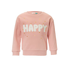 Buy John Lewis Girls' Happy Print Sweatshirt, Pink Online at johnlewis.com