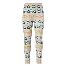 Buy John Lewis Girls' Heart Print Leggings, Oatmeal Online at johnlewis.com