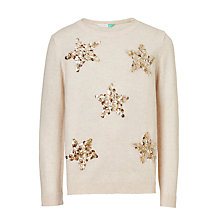 Buy John Lewis Girls' Star Sequin Knit Jumper, Cream Online at johnlewis.com