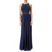 Buy Adrianna Papell Plus Size Halter Neck Chiffon Beaded Bodice Gown, Midnight Blue Online at johnlewis.com