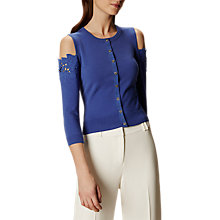 Buy Karen Millen Floral Cold Shoulder Cardigan, Blue Online at johnlewis.com