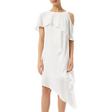 Buy Adrianna Papell Crepe Ruffle Dress, Ivory Online at johnlewis.com