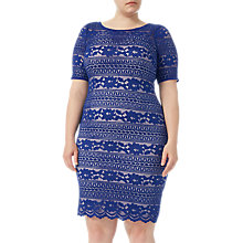 Buy Adrianna Papell Plus Size Corded Lace Shift Dress, Neptune Online at johnlewis.com