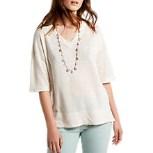 Buy White Stuff Island Linen V-Neck Top, Ecru Online at johnlewis.com
