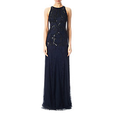 Buy Adrianna Papell Beaded Halter Neck Gown, Midnight Blue Online at johnlewis.com