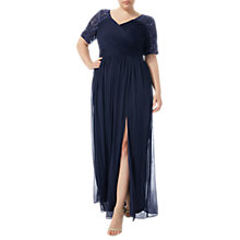 Buy Adrianna Papell Plus Size Stretch Sequin And Tulle Gown, Midnight Blue Online at johnlewis.com
