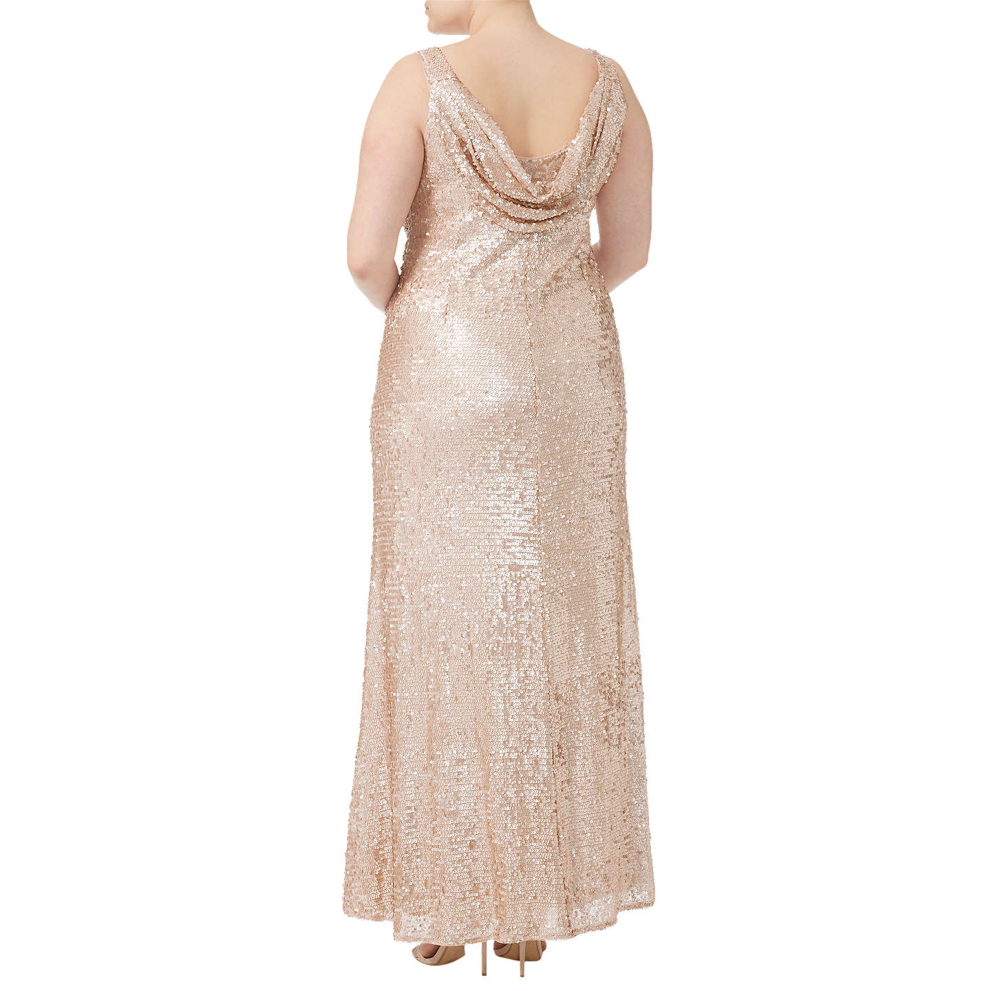 BuyAdrianna Papell Plus Size Sequin Pailette Maxi Dress, Nude, 18 Online at johnlewis.com