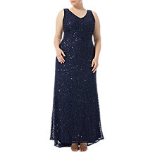 Buy Adrianna Papell Plus Size V-Neck Beaded Gown, Navy Online at johnlewis.com