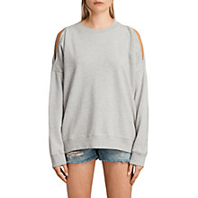 Buy AllSaints Unai Cotton Sweater, Pale Grey Marl Online at johnlewis.com