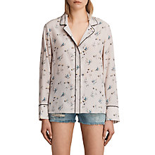 Buy AllSaints Leon Quilla Silk Shirt, Pink Online at johnlewis.com