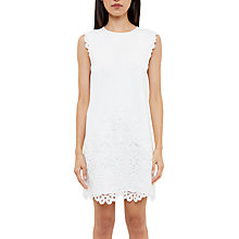 Buy Ted Baker Detailed Shift Dress, White Online at johnlewis.com