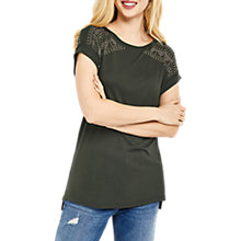 Buy Oasis Stud Detail T-Shirt, Khaki Online at johnlewis.com