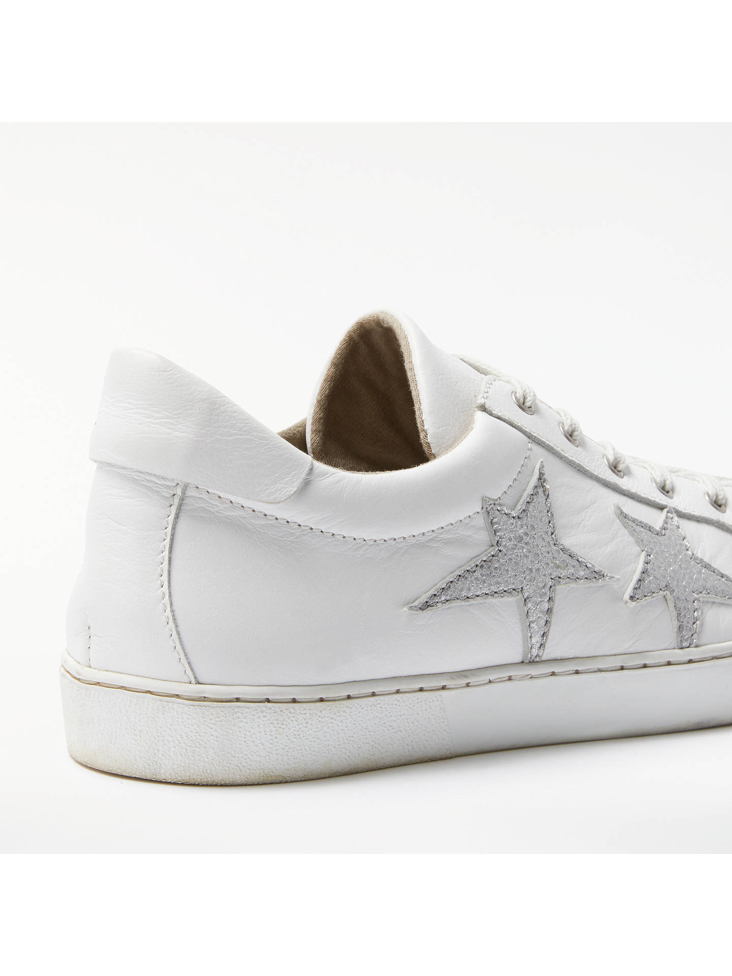 Buy AND/OR Evita Star Lace Up Trainers, White Leather, 7 Online at johnlewis.com