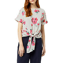 Buy Warehouse Delia Floral Tie Front Top, Neutral Print Online at johnlewis.com