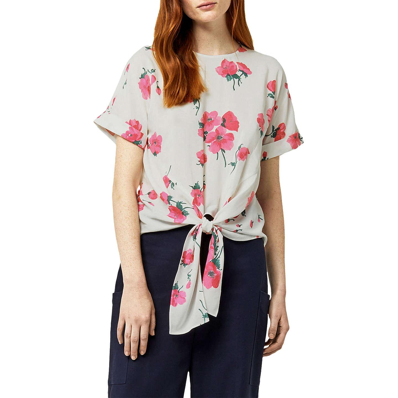 Warehouse Delia Floral Tie Front Top, Neutral Print at John Lewis
