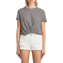 Buy AllSaints Carme Stripe T-Shirt, Smoke Navy/Oyster Online at johnlewis.com