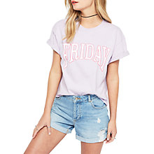 Buy Miss Selfridge Friday T-Shirt, Lilac Online at johnlewis.com