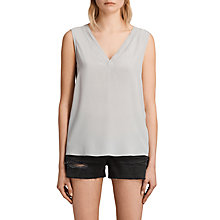 Buy AllSaints Arla Silk Top, Storm Grey Online at johnlewis.com