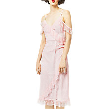 Buy Warehouse Eyelash Cold Shoulder Dress, Light Pink Online at johnlewis.com