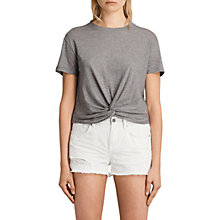 Buy AllSaints Carme Stripe T-Shirt, Grey Marl/Nude Online at johnlewis.com