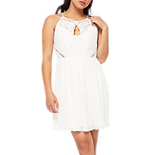 Buy Miss Selfridge Petite Pleated Skirt Dress, White Online at johnlewis.com