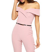 Buy Miss Selfridge Bardot Belt Jumpsuit, Pink Online at johnlewis.com