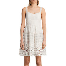 Buy AllSaints Janey Tier Dress, Chalk White Online at johnlewis.com