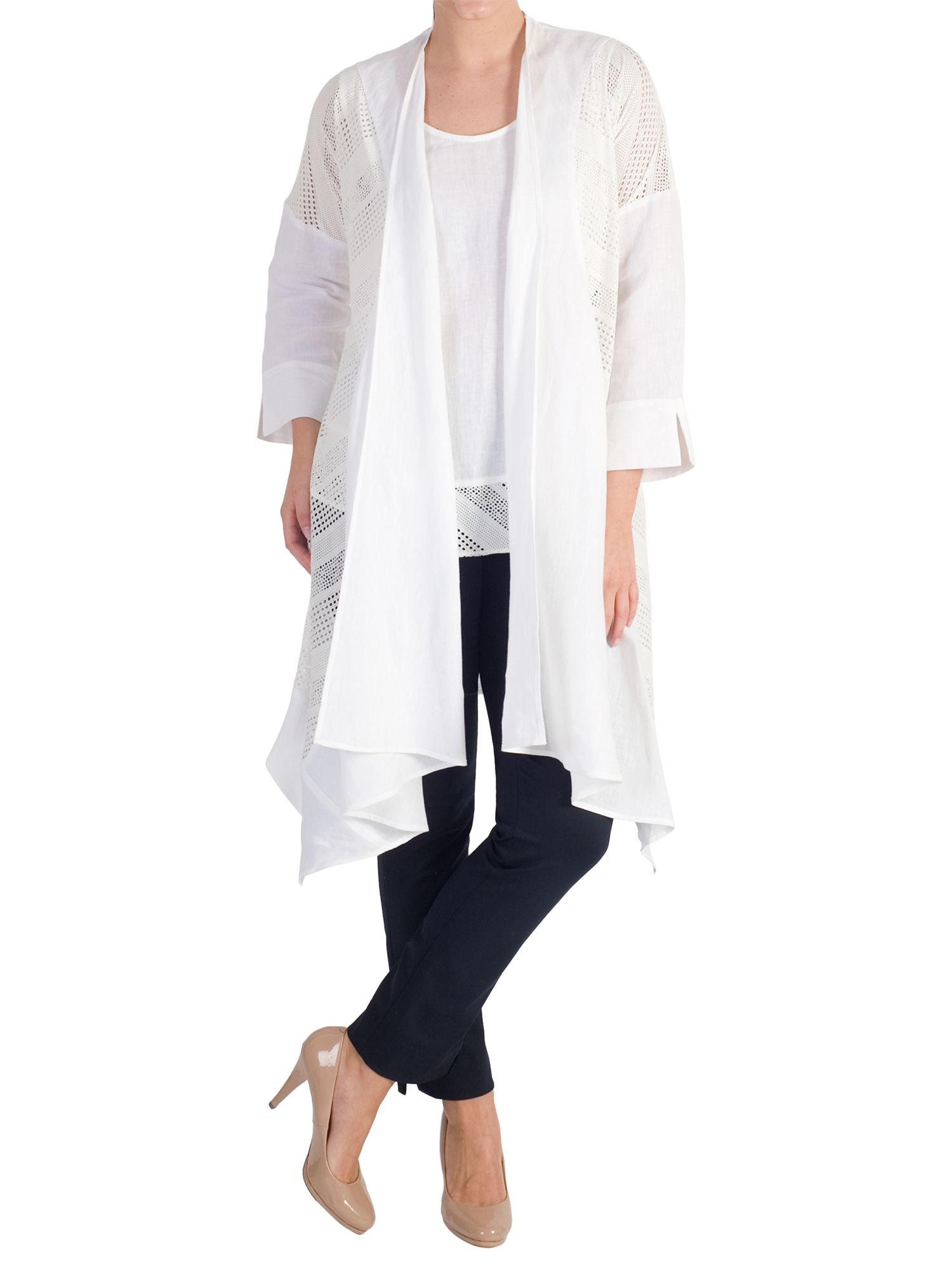 Chesca Chesca Mesh Trim Linen Coat