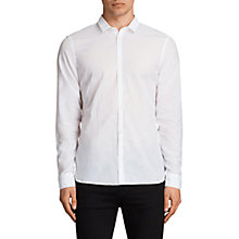 Buy AllSaints Livermore Unpressed Shirt, Optic White Online at johnlewis.com