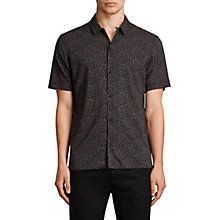Buy AllSaints Akaw Slim Fit Printed Short Sleeve Shirt, Washed Black Online at johnlewis.com