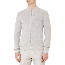 Buy Reiss Champ Melange Cotton Zip Cardigan, Grey Online at johnlewis.com