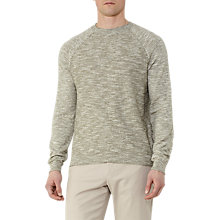 Buy Reiss Martial Contrast Weave Jumper, Green Online at johnlewis.com