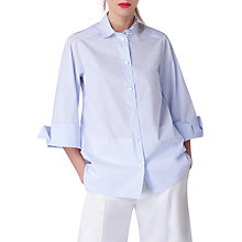 Buy Closet Wide Sleeve Pin Stripe Blouse, Blue Online at johnlewis.com