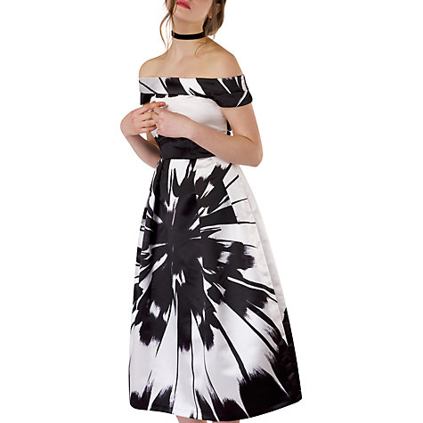 Buy Closet Floral Bardot Dress, Black/White Online At Johnlewis.com ...