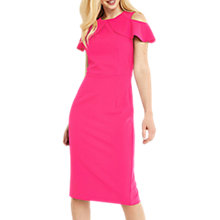Buy Oasis Ruffle Cold Shoulder Dress, Bright Pink Online at johnlewis.com