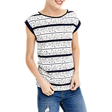Buy Oasis Floral Wiggle Stripe T-Shirt, White/Navy Online at johnlewis.com
