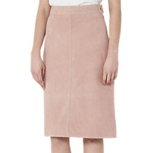 Buy Reiss Tess Suede A-Line Pencil Skirt, Blush Pink Online at johnlewis.com