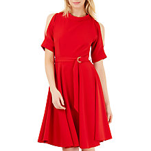 Buy Closet Split Sleeve Belted Skater Dress, Red Online at johnlewis.com