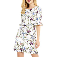 Buy Oasis Floral Flute Sleeve Shift Dress, Multi Neutral Online at johnlewis.com