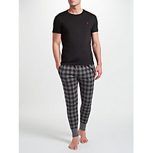Buy Polo Ralph Lauren T-Shirt And Check Lounge Pants, Charcoal Online at johnlewis.com