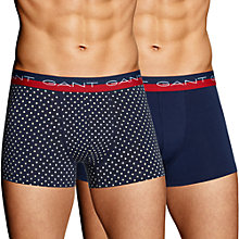 Buy Gant Stretch Cotton Dot Trunks, Pack of 2, Navy/Red Online at johnlewis.com