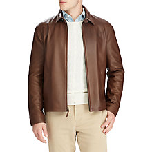 Buy Polo Ralph Lauren Maxwell Leather Jacket, Bison Brown Online at johnlewis.com