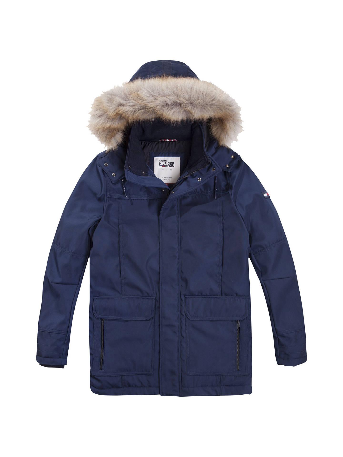 09201b02 Buy Tommy Jeans Tech Parka Jacket, Multi/Navy, S Online at johnlewis.