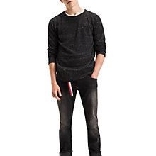 Buy Tommy Jeans Textured Crew Neck Jersey Top, Dark Grey Online at johnlewis.com