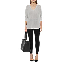 Buy Reiss Bless Metallic V Neck Jumper, Silver Online at johnlewis.com