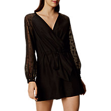Buy Karen Millen Draped Sheer Playsuit, Black Online at johnlewis.com