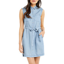 Buy Oasis Edie Sleeveless Shirt Dress, Light Wash Online at johnlewis.com
