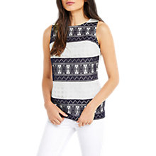 Buy Oasis Marais Stripe Lace Shell Top, White/Midnight Blue Online at johnlewis.com