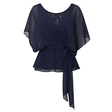 Buy Jacques Vert Lace And Chiffon Top, Navy Online at johnlewis.com