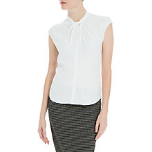 Buy Max Studio Cap Sleeve Twist Front Top, Cream Online at johnlewis.com